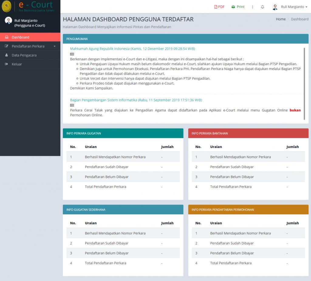 verified dashboard cara Advokat daftar ecourt secara online