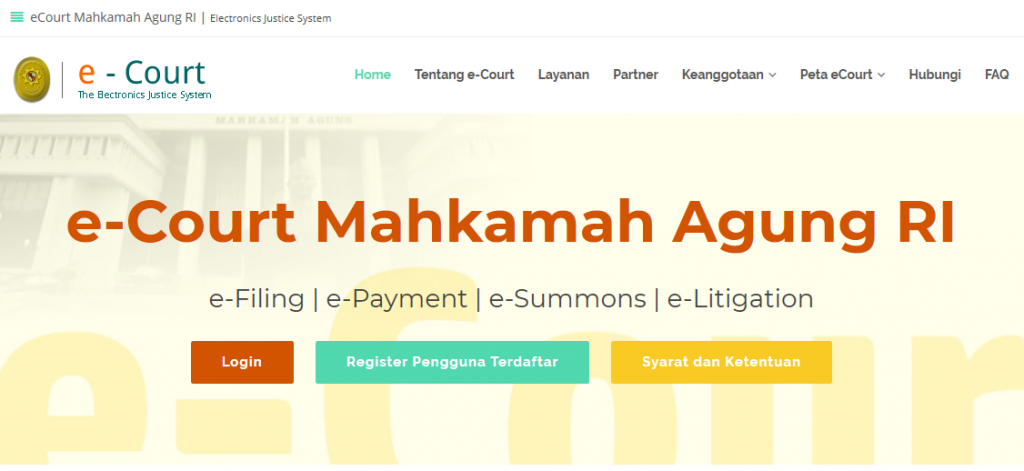 cara Advokat daftar ecourt secara online