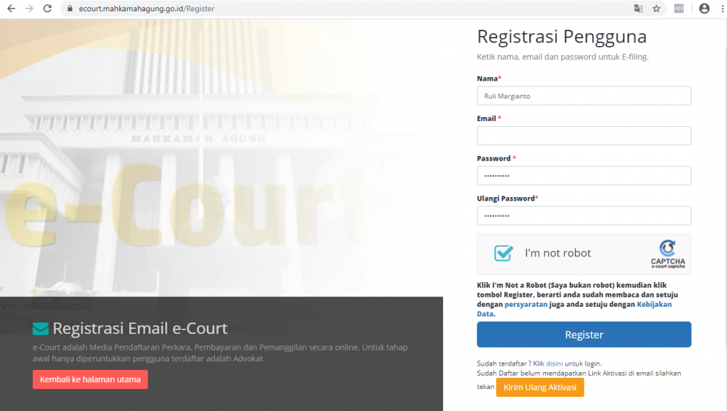 Registrasi cara Advokat daftar ecourt secara online