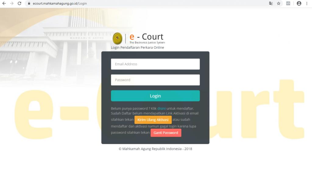 logi cara Advokat daftar ecourt secara online