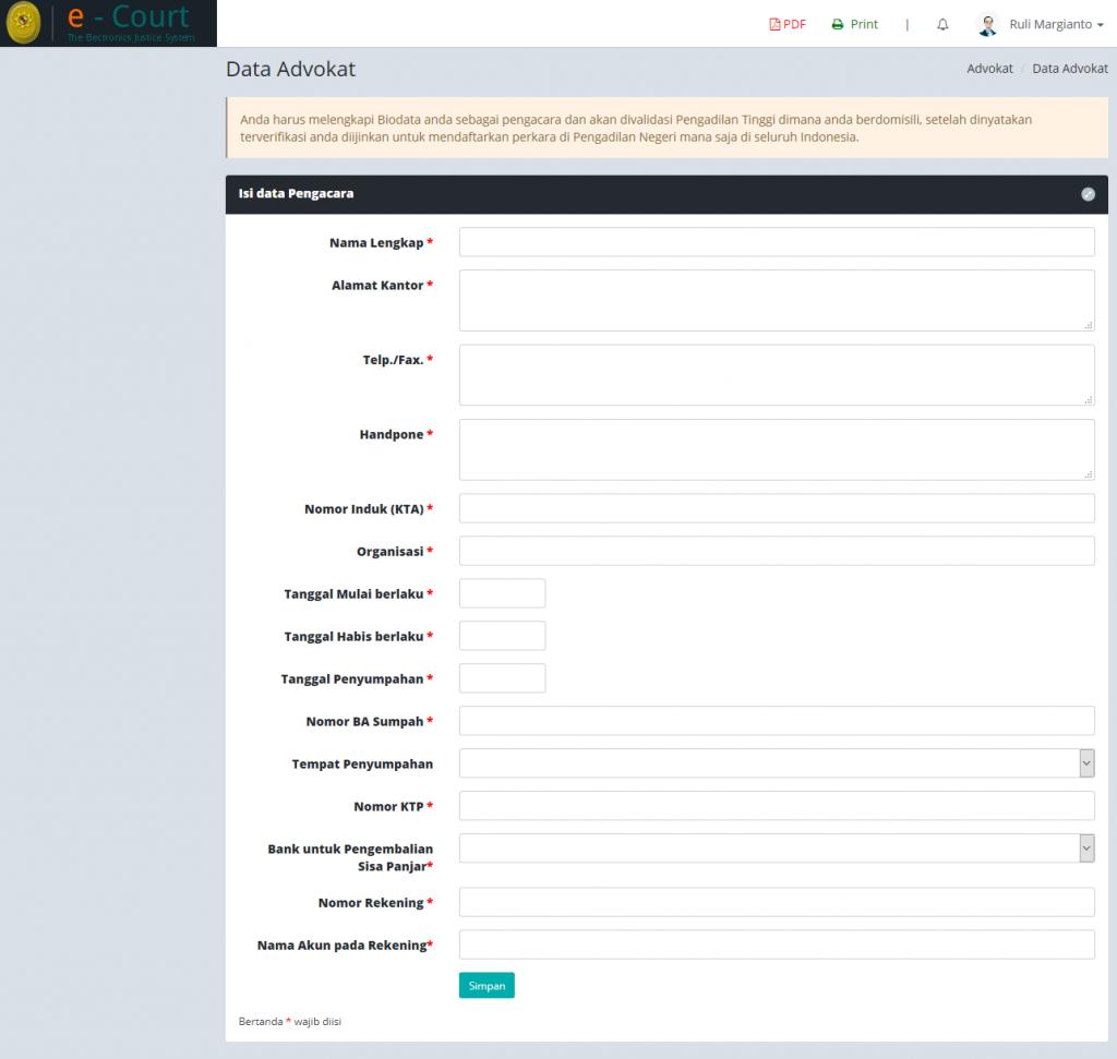 E-Filing_1 cara Advokat daftar ecourt secara online
